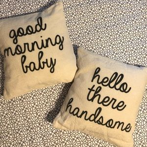 """""""Baby"""" & """"Handsome"""" Throw Pillows"""